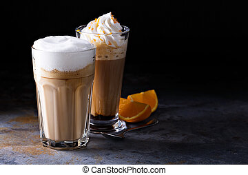 Coffee latte and viennese coffee with whipped cream and...