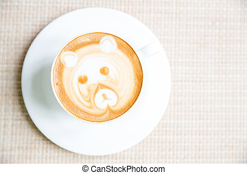 Coffee latte art in white cup