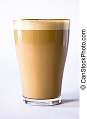 Coffee Latte - Close-up of a pattern in a glass of coffee ...