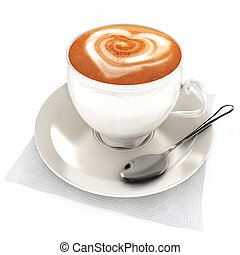 Coffee latte with heart design