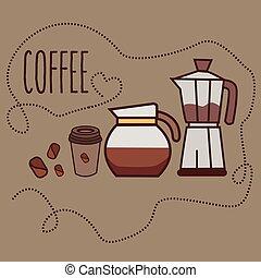coffee line icon art cup bean jug jar grinder