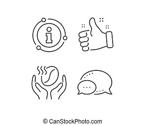 Coffee line icon. Hold roasted bean sign. Love caffeine. Vector