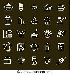 Coffee line icon set