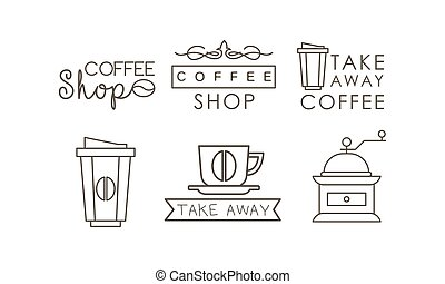 Coffee line icons set, takeaway coffee cup, grinder, labels and badges vector Illustration on a white background