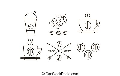 Coffee line icons set, takeaway coffee paper cup, beans, vector Illustration on a white background.