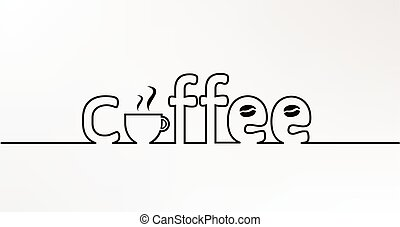 coffee line text - abstract creative coffee ine one line