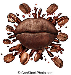 Coffee Lips Concept - Coffee lips concept and a hot beverage...