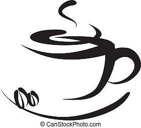 Coffee logo and sign,artistic vector illustration.