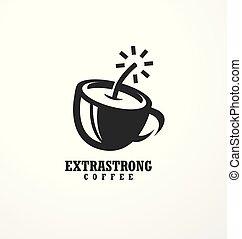Creative logo design idea for extra strong coffee - Coffee...