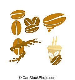 Coffee Logo Cup Brain Template Vector Icon Illustration Set...