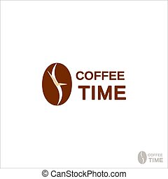 Coffee logo for a coffee shop. Coffee beans. Logo vector isolated on white background
