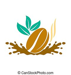 Coffee Logo Liquid Leaf Template Vector Icon Design Isolated...