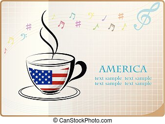 coffee logo made from the flag of America