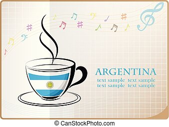 coffee logo made from the flag of argentina