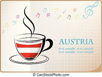 coffee logo made from the flag of Austria