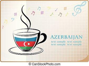 coffee logo made from the flag of Azerbaijan