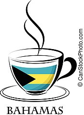 coffee logo made from the flag of Bahamas