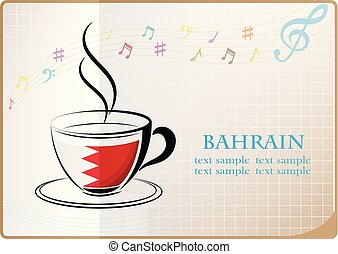 coffee logo made from the flag of Bahrain