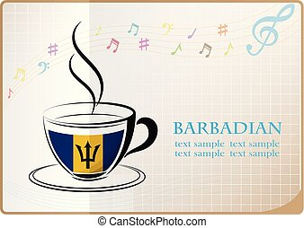 coffee logo made from the flag of Barbadian