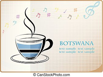 coffee logo made from the flag of Botswana