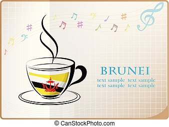 coffee logo made from the flag of brunei