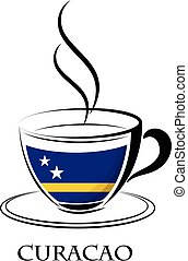 coffee logo made from the flag of Curacao