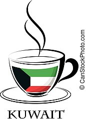 coffee logo made from the flag of Kuwait