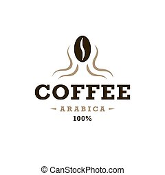 Coffee logo, vintage design concept. Coffee bean in head...