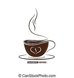 coffee., logos, mots, bannières, contour, tasse, dessiné, favori, autocollants, vecteur, café, autocollants