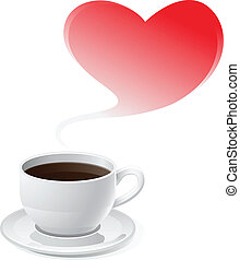 Coffee Love and Red Heart Valentine