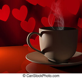 Coffee love. Warm cup of coffee in front of valentines background with hearts