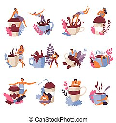 Coffee lovers drinking beverages and hugging cups vector
