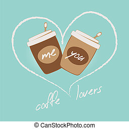Coffee lovers illustration. Two cups and heart