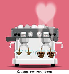 coffee machine and coffee cups with steam in heart shape