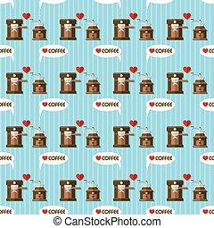 coffee machine and coffee grinder seamless pattern - coffee...