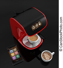 Coffee machine and smart phone