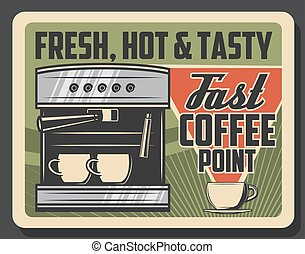 Coffee machine, cafe and coffeeshop espresso - Coffee cafe...