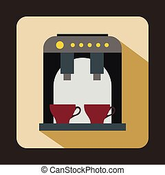 Coffee machine icon, flat style