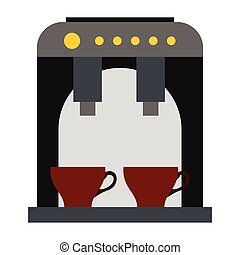 Coffee machine icon, flat style