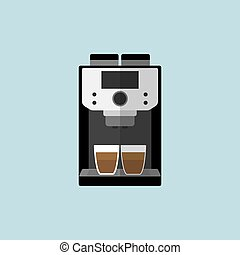 Coffee machine icon flat style
