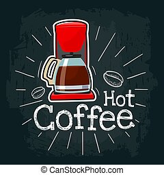 Coffee machine icon. Vector color flat illustration