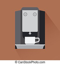 Coffee machine icon with shadow