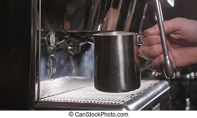 Coffee machine in the coffee shop. Close up shot. - Coffee...