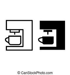 Coffee machine line and glyph icon. Coffee maker vector illustration isolated on white. Household outline style design, designed for web and app. Eps 10.