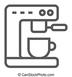 Coffee machine line icon, kitchen and cooking, cup sign vector graphics, a linear pattern on a white background, eps 10.