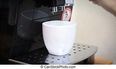 Coffee machine makes cup hot coffee