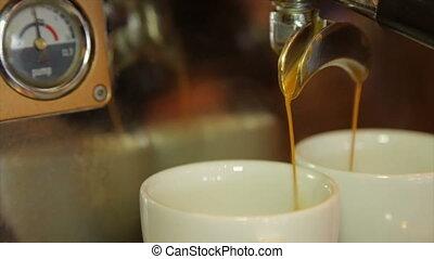 Coffee machine making cappuccino espresso coffee - The...