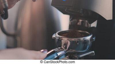 Coffee machine. Morning drink. Preparation of espresso. -...