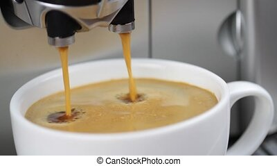 Coffee machine pouring espresso in cup ( 1080 HD Silent...