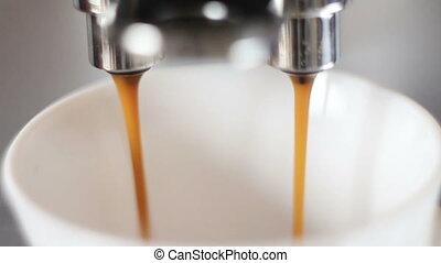 coffee machine pouring espresso